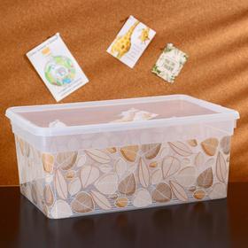 Контейнер для хранения с крышкой «Deco. Листья», 10 л, 36,9×24,7×15,4 см, цвет прозрачный