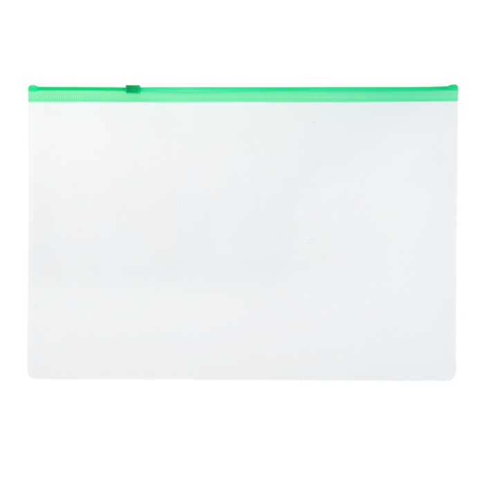 Папка-конверт на гибкой молнии Zip A4 150мкм, зелёная