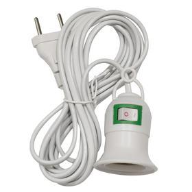 Патрон подвесной для фитоламп, с выключателем, цоколь Е27, провод 3 м Ош