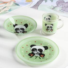Набор детской посуды Доляна «Панда», 3 предмета: кружка 230 мл, тарелка 18 см, салатник 230 мл