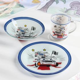 Набор детской посуды Доляна «Гонки», 3 предмета: кружка 230 мл, тарелка 18 см, салатник 230 мл