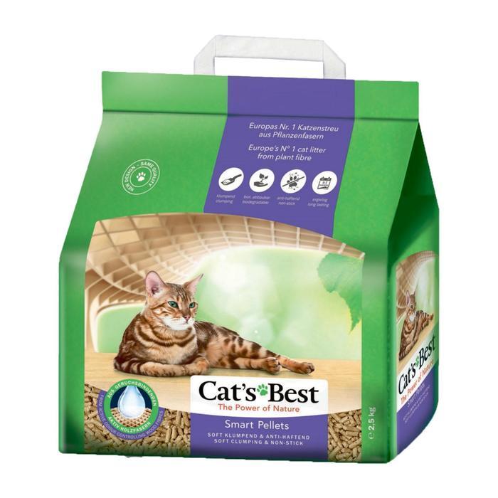 Наполнитель древесный комкующийся Cat's Best Smart Pellets 5 л, 2.5 кг -бд