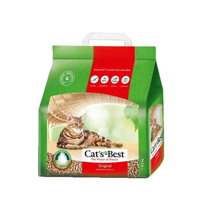 Наполнитель древесный комкующийся Cat's Best Original 5 л, 2,1 кг - быстрая д.