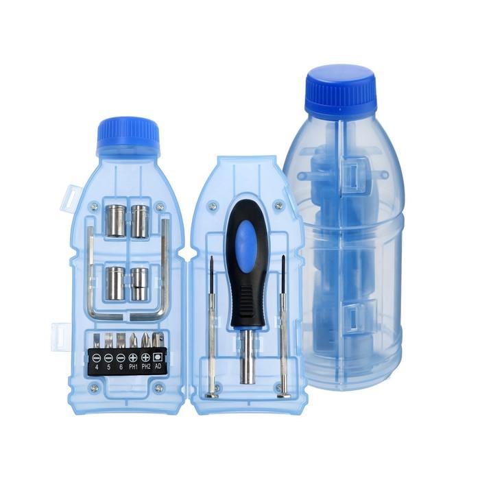 """Набор инструментов TUNDRA, подарочный пластиковый кейс """"Бутылка"""", 15 предметов"""