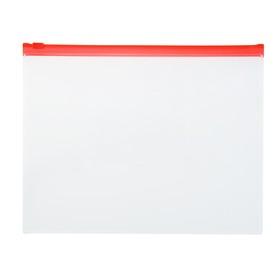 Папка-конверт с замком слайдером Zip A5 / 150мкм/ красная