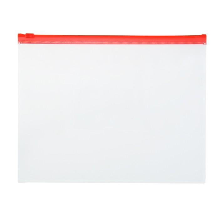 Папка-конверт с замком слайдером Zip A5 / 150мкм/ красная - фото 6982