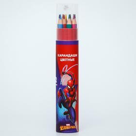 """Карандаши цветные с точилкой в тубусе, 12 цветов, """"Супергерой"""", Человек-Паук"""