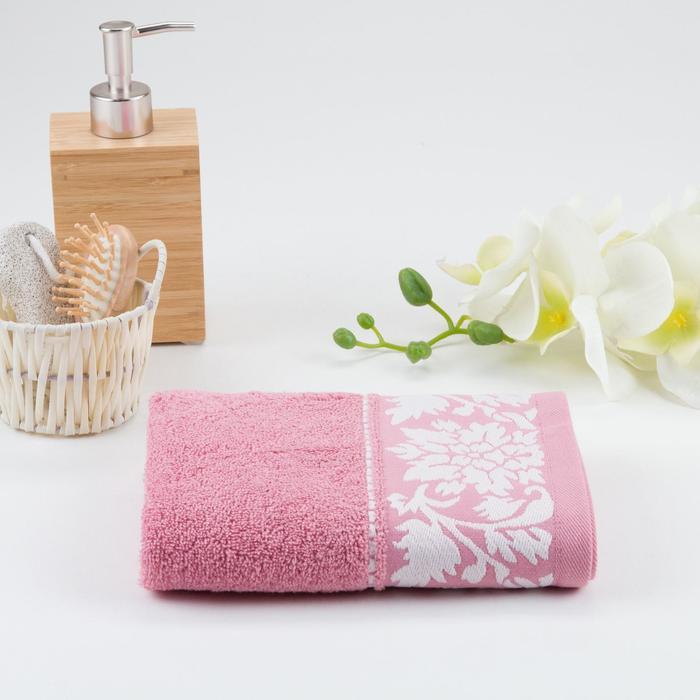 Полотенце махрове МУЗА 01-098 70х130 см, тёмно-розовый, хлопок 100%, 400г/м2 - фото 762741
