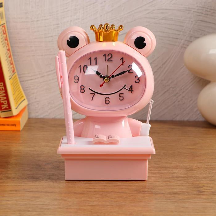 """Часы-будильник детские """"Царевна-Лягушка"""",с подсветкой, с ручкой, 1АА, дискретный ход, розов. - фото 2118585"""
