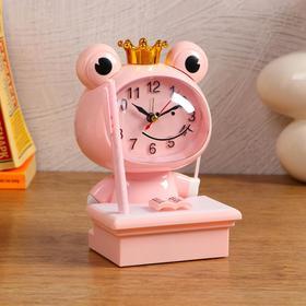 """Часы-будильник детские """"Царевна-Лягушка"""",с подсветкой, с ручкой, 1АА, дискретный ход, розов. - фото 2118586"""