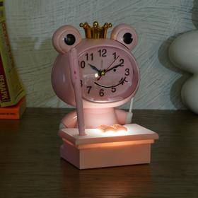 """Часы-будильник детские """"Царевна-Лягушка"""",с подсветкой, с ручкой, 1АА, дискретный ход, розов. - фото 2118587"""