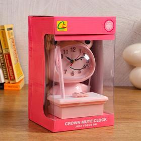 """Часы-будильник детские """"Царевна-Лягушка"""",с подсветкой, с ручкой, 1АА, дискретный ход, розов. - фото 2118589"""