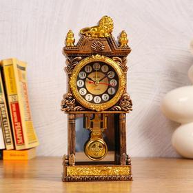 Часы с маятником настольные,  с будильником, 1 АА, дискретный ход, d=5.6 см