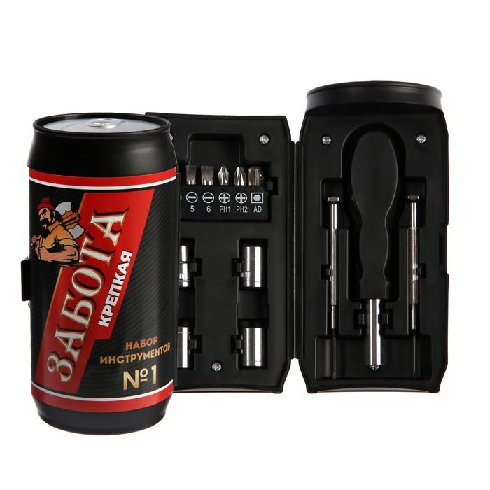 """Набор инструментов TUNDRA, подарочный пластиковый кейс """"Банка"""", 13 предметов"""