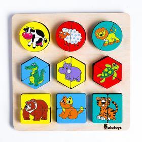 Сортер «Животные» основание, 9 животных, 18 элементов, 21×21×2 см