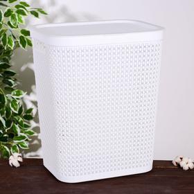 Корзина для белья с крышкой «Пирула», 55 л, 42×34×54 см, цвет белый