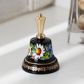 """Колокольчик Валдайский """"№2. Цветы"""", расписной, с короткой ручкой, d=35 мм"""