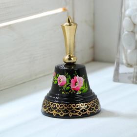 """Колокольчик Валдайский """"№4. Цветы"""", расписной, с короткой ручкой, d=45 мм"""