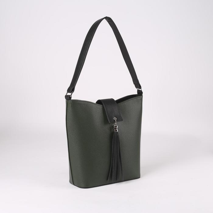 Сумка женская, отдел на молнии, наружный карман, цвет зелёный - фото 53385