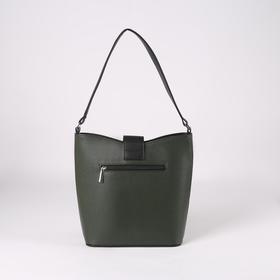 Сумка женская, отдел на молнии, наружный карман, цвет зелёный - фото 53386