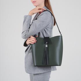 Сумка женская, отдел на молнии, наружный карман, цвет зелёный - фото 53388