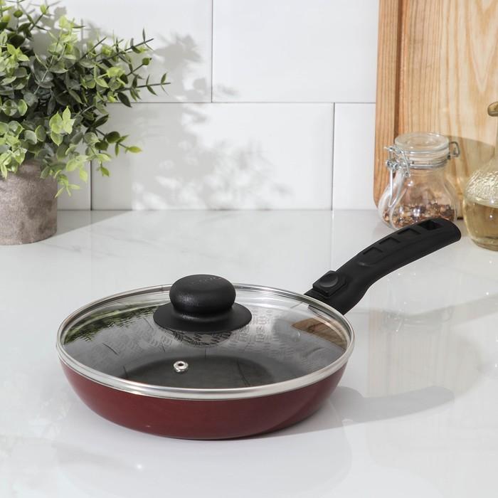 """Сковорода 20 см """"Альфа"""", съемная ручка, стеклянная крышка"""