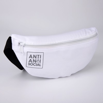 """Belt bag """"Anti anti social"""", 32* 8*15, zippered otd, white"""