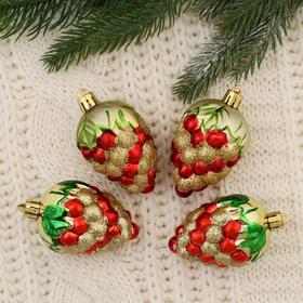 "Christmas tree decoration ""Berry"" (set of 4 pieces) 6.5 cm"