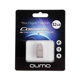 Флешка Qumo Cosmos, 32 Гб, USB2.0, чт до 25 Мб/с, зап до 15 Мб/с, корпус металл, серебристая