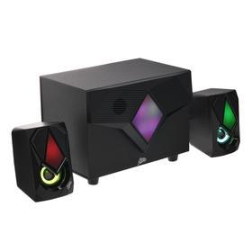 Компьютерные колонки 2.1 Qumo Shield AS006, 15 Вт, подсветка, USB, черные