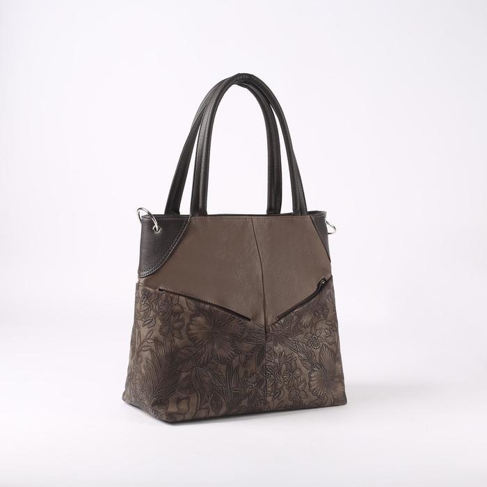 Сумка женская, 3 отдела на молнии, 4 наружных кармана, длинный ремень, цвет коричневый - фото 53830