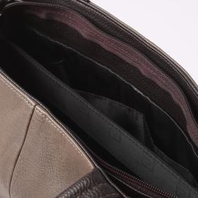 Сумка женская, 3 отдела на молнии, 4 наружных кармана, длинный ремень, цвет коричневый - фото 53832