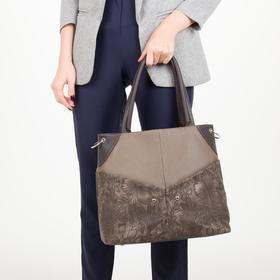 Сумка женская, 3 отдела на молнии, 4 наружных кармана, длинный ремень, цвет коричневый - фото 53833