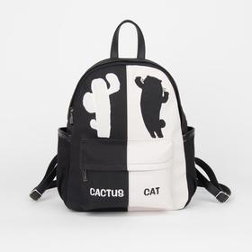 Рюкзак, отдел на молнии, 4 наружных кармана, цвет чёрный/белый