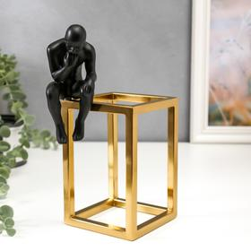 "Souvenir Polyresin, metal ""Thinker"" black with gold 22,5x10x13,5 cm"