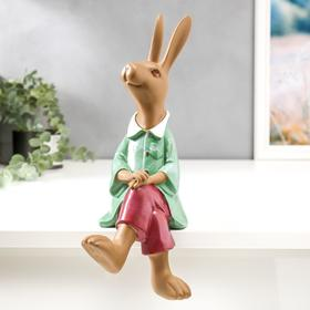 "Polystone souvenir ""Hare in a green shirt and maroon trousers"" 33x16x13 cm"