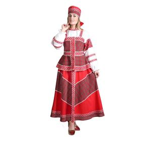 """Russian folk costume """"DUSHECHKA"""", blouse with a shower cap, skirt, headdress, R-R 46, height 172"""