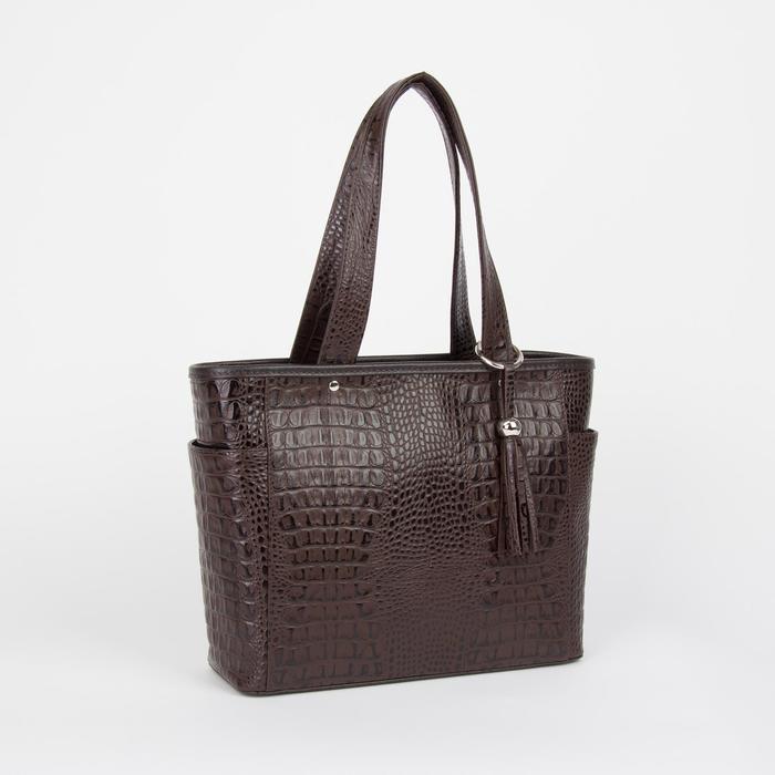 Сумка женская, отдел на молнии, 3 наружных кармана, цвет коричневый - фото 53425