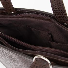 Сумка женская, отдел на молнии, 3 наружных кармана, цвет коричневый - фото 53427