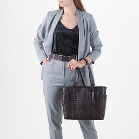 Сумка женская, отдел на молнии, 3 наружных кармана, цвет коричневый - фото 53428