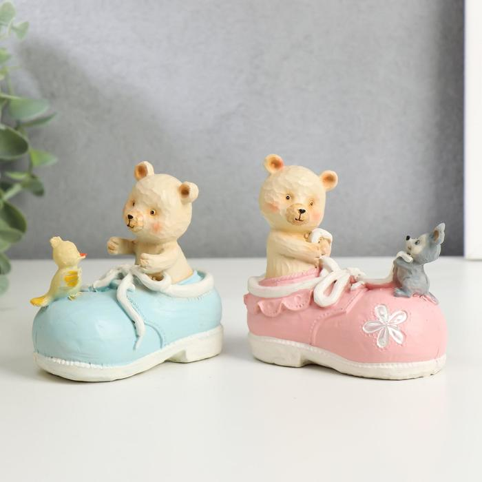 "Сувенир полистоун ""Медвежонок в ботинке"" МИКС 8,2х8,5х4,5 см"