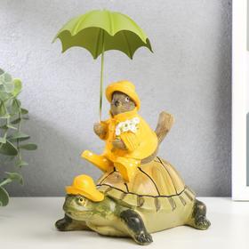 "Polystone souvenir ""Sparrow in a raincoat with an umbrella, on a turtle"" 21,5x16,5x11,5 cm"