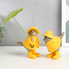 """Polystone souvenir """"Sparrows in raincoats and boots, with umbrella"""" set of 2 pieces 10,5x8,5x5,5 cm"""