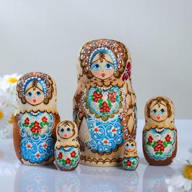 Матрёшка «Жженка» синий фартук , 5 кукольная17 см