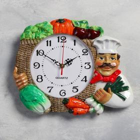 """Часы настенные, серия: Кухня, """"Овощи"""", плавный ход, 27 х 34 см, d=17 см"""