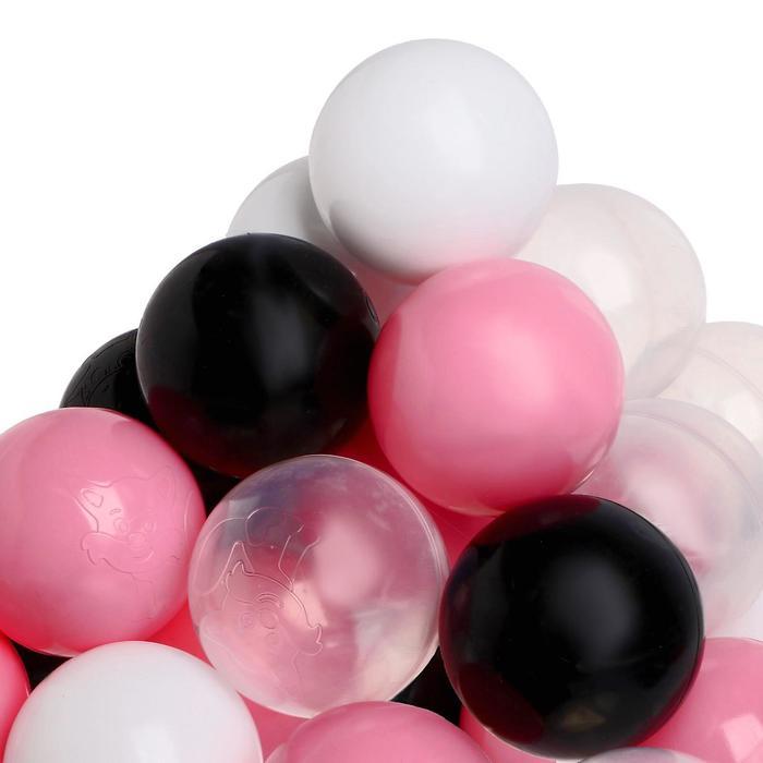 Набор шаров для сухого бассейна 150 штук (прозрачный, розовый, белый, чёрный)
