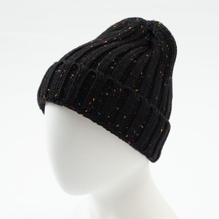 Шапка MINAKU с подворотом, цвет чёрный, размер 52-54 - фото 76615668