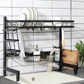 Рейлинговая система для кухни - стойка, набор 11 предметов, 65 см, цвет чёрный