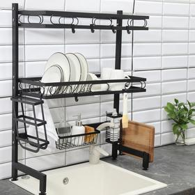 Рейлинговая система для кухни - стойка, 2 уровня, 65 см, цвет чёрный