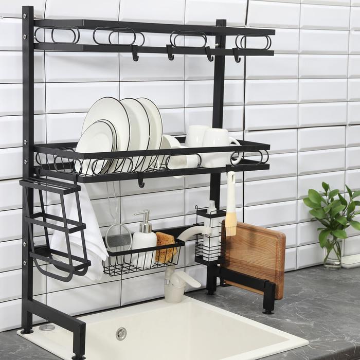 Рейлинговая система для кухни - стойка, 2 уровня, 65 см, цвет чёрный - фото 853867